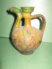 Antique Canakkale Ewer Turkish Ottoman Pitcher Jug Cup Islamic Pottery 19 centur