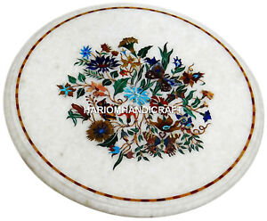 White Marble Round Coffee Table Top Floral Mosaic Inlay Semi Precious Arts H2974