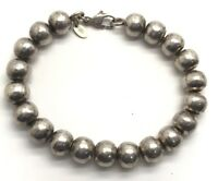 Vintage Oxidized Sterling Silver Beaded Sphere Ball Round Chain Tennis Bracelet