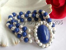 3rows Natural White Pearl Lapis Lazuli Bracelet Lapis!