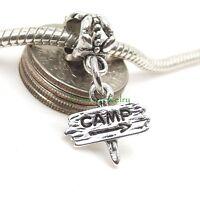 Go Camping Camp Sign Dangle Large Hole Slider Bead for European Charm Bracelet