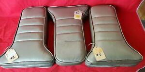 1968-1982 Corvette LEATHER Center Armrest T Cushion SILVER-BEIGE (New BLEMS)