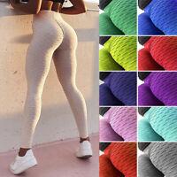 Women Anti-Cellulite Yoga Pants High Waist Leggings Butt Lift Ruched Trousers O1