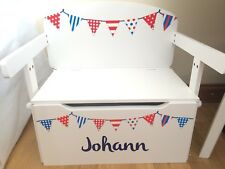 Kids Toy Box & Desk Red White Blue Bunting (New Factory Slight Seconds)
