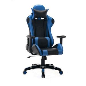 Gaming Office Chair Adjustable With Footrest Chair Home Blue Black Racing