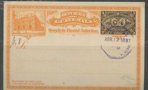 Guatemala 3C 1897 Exhibition 4/12/97 Precancel Postale Cartoleria Cartolina