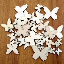 50 x Mixed Size Butterflies MDF Wooden Shape Craft Embellishments Wood Cra Deko-
