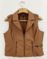 BACCINI Women Brown Faux Leather Vest Sz PL Brown Zip Front Sleeveless Lined