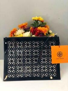 NWT TORY BURCH Dark Navy Blue Patent Leather Laser Cut Perforated XL Wristlet