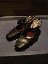 c3c388ae4cb MERONA Women s Size 9.5 Black Leather Mules Slip-on Buckle Heels NICE!