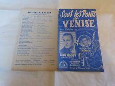 TINO ROSSI & JEAN CLAUDE CREMIER - Partition SOUS LES PONTS DE VENISE !!!