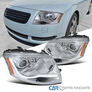 For 99-06 Audi TT Clear LED DRL Strip Projector Headlights Head Lights Lamps