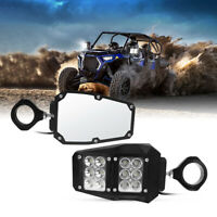 """UTV Rear View Side Mirrors w/ LED Light for Polaris RZR Fit 1.5""""-2"""" Roll Cage"""