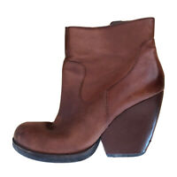 Korks Natalya Womens Brown Leather Wedge Booties Ankle Boots Size 8 39 Cognac