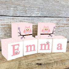 Personalised Wooden Name Blocks PRICE PER BLOCK/LETTER Pink Owl Design