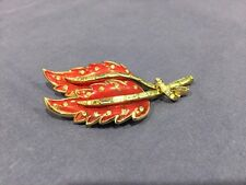 Red Enameled Leaf Brooch Pin by Coro
