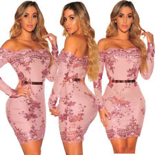 Sexy Women Boat Neck Long Sleeves Bodycon Party Cocktail Evening Sequins Dress