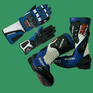 Suzuki GSXR Motorbike Shoe and Glove Stylish Racing Motorcycle Stunt Shoe GP