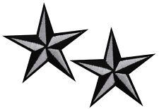 1 Paar Nautical star stern Aufnäher patch Rockabilly Tattoo sailor Aufbügler S/W