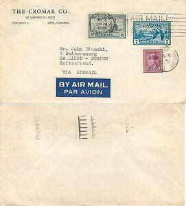 350 - Canada - Busta via aerea da Toronto a Zollikon (Svizzera), 16/09/1946
