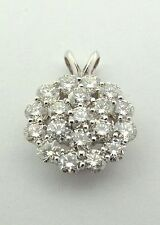 14KT WHITE GOLD PENDANT WITH GENUINE  NATURAL DIAMONDS 2.00 CARATS.