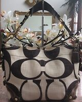 Coach Signature Jacquard Beige Brown Leather Shoulder Handbag Purse 10794 EUC