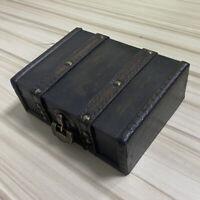 Wood Jewelry Treasure Chest Trunk Trinket Lock Storage Case Bedroom Decorative
