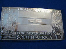THE SILVER MINT, 20 Grams, Pure Silver .999 Fine, SOUTH AFRICA, Ingot.