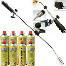WEED WAND + 8 BUTANE GAS CANISTER BLOWTORCH GARDEN TORCH WEEDS KILLER BURNER