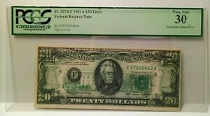 VERY RARE 1981 A $20 FRN-FULL BACK TO FACE ERROR- VERY RARE-PCGS-30