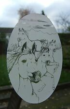 """Frosted glass look WILD HORSES window decoration 8""""x12"""" / 20x28cm"""
