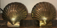 Brass Clam Shell Bookends Vintage PMC Seashell ocean nautical sea waves oyster
