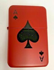 Ace Of Spades Silkscreen Lighter Wind Proof - New - Red