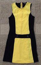 Parrot Girls Sleeveless Shift Dress Yellow & Black Size 12 Nylon & Elastane