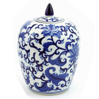 "8"" FINE CHINA JAR STORAGE LID PATTERNS HOME GIFT LIVING ROOM DECORATION BLUE NEW"