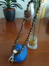 "8mmgenuine tiger eye gemstone beads necklace with pendant 18""- UK seller"