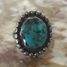 Ring Mexico Size 6 Vintage 1950'S Silver Turquoise