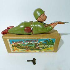 RARE VTG WINDUP CELLULOID SOLDIER SHARPSHOOTER BY ALPS OCCUPIED JAPAN WORKS NMIB