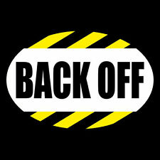 """Funny """"BACK OFF"""" anti tailgater OVAL WINDOW DECAL bumper sticker, tailgating car"""