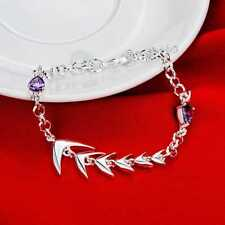 Hot 925Sterling Solid Silver Jewelry Crystal Fish Bone Bracelet For Women H532