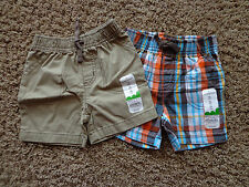 JUMPING BEANS boy's sz 12 months NWT cotton shorts (2) brown/blues/white/orange