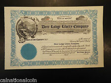 Vintage Unused Deer Lodge Livery Company stock certificate no. 50