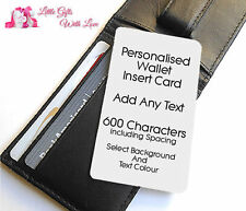 Personalised Aluminium Mini Wallet/Purse Insert Card Ideal For Any Occasion