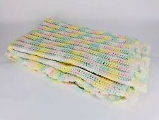 Crocheted Afghan Throw Blanket Pastel Yellow Green Pink Handmade Baby Bedding