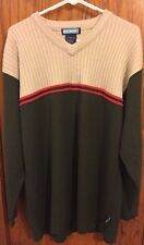 Mens ICEBOX Tan and Gray Sweater w Red Stripes Size XL