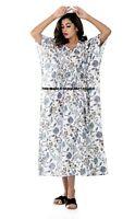 Anokhi Coton Blanc Caftan Bloc Imprimé Indien Nuit Robe Kimono Robe Maxi