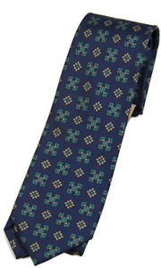 NWT - Drake's – Navy Silk Tie w/Ancient Madder Print, Made in England