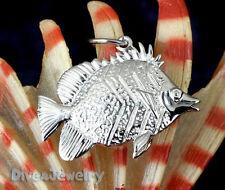 Solid STERLING SILVER ☣ 3D lifelike FISH Sealife Ocean Marine Pendant Necklace