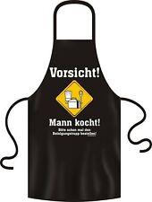 lustige Kochschürze Männer - Mann kocht - Partyschürze Grillschürze schwarz