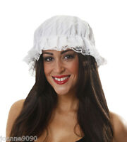 LADIES WHITE MOP CAP HAT VICTORIAN MAID TUDOR GIRL FANCY DRESS COSTUME ACCESSORY